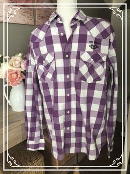 Paars geruite blouse van Tom Tailer - Maat L