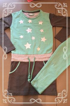 2-dellig set: groen jurkje en legging - maat 104/110