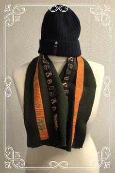 Leuke zachte blauwe muts en donkergroene sjaal - 3 tot 5 jaar