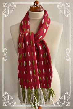 Leuke roze sjaal met wit en groene slierten