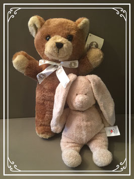 Teddybeertje met knuffel konijntje