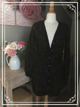 Zwart lang vest met knopen van Emma - Maat XL