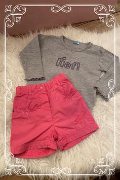 Grijs shirt van het merk LIEF en een fuchsia short van Esprit - Maat 74