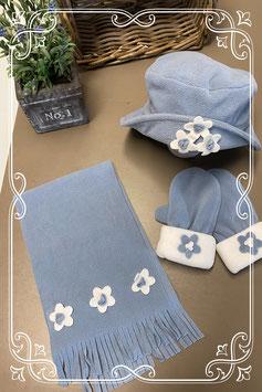 3 delige set in blauw met wit met bloemen - van 3-6 jaar