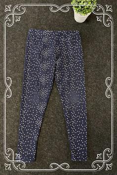 Donkerblauwe legging met zilveren stippen van Primark maat 128