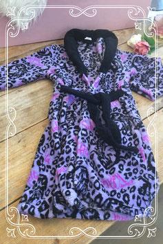 Paars/zwarte badjas met panterprint van Disney - Maat 122-128