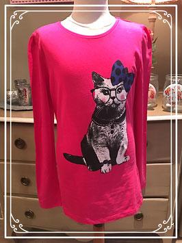 Nieuw: fuchsia roze shirt met poes van Here + There - maat 158-164