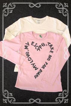 Leuke roze longsleeve van United Colors of Benneton en witte longsleeve van Hema maat 146/152