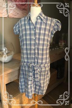 Blauw/wit geruite jurk van EGO - Maat 146