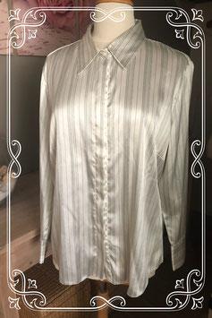 Gladde blouse wit met zwarte streep van Canda - Maat L
