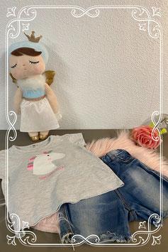 Stoer TShirt en spijkerbroekje van Zara Maat 86