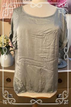 Zilver grijs glanzend shirt - Maat M