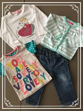 babyjeans in combinatie met hema shirt - hema vestje en een longsleeve - maat 74