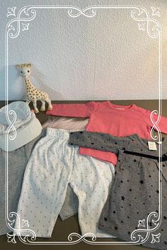 5-delig setje1: een petje met 2 leggings -  jurkje en longsleeve vam Hema - Prenatal en H&M maat 50/56