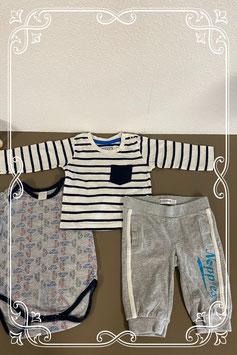 Gestreepte longsleeve van Early Days met romper van Baby Blue en grijs broekje van Noppies 62/68