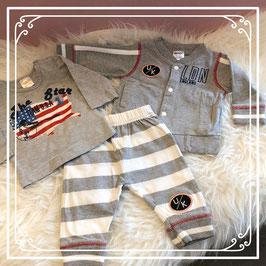 3 delige grijze kledingset van DIRKJE - Maat 56