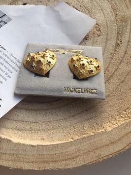 Nieuwe gouden oorbellen clips met kleurrijke glitter steentjes