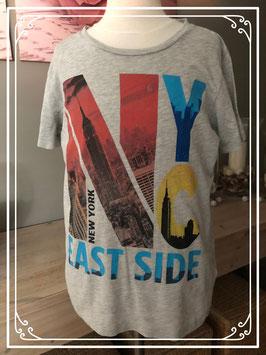 Grijs korte mouwen shirt van H&M met kleurrijke print - Maat 146-152