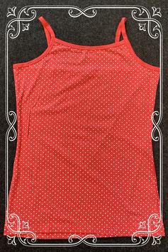 Nieuw! Donkerroze hemdje met witte stippen maat 158/164