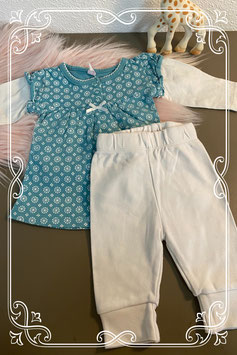 Lief wit met groen jurkje en witte legging maat 50