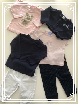 Grote kleding set kleuren blauw en roze (6 STUKS) - Maat 62