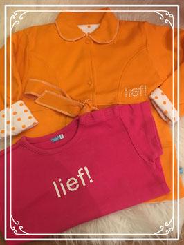 NIEUW oranje vest met roze shirt van lief! - Maat 86