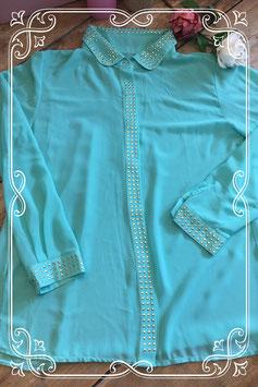 Groen/blauwe blouse (merkloos) - Maat L