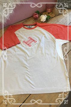 Oranje/crèmewit shirt van Twinlife - Maat L