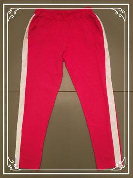 Rode legging met witte streep - Maat 158