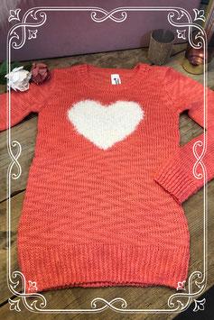 Zalmkleurige trui met wit hart  van het Merk C&A Maat - 146 - 152