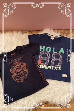 2 donkerblauwe T-shirts - Maat 92