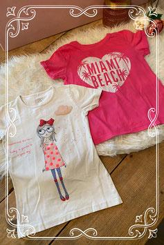 2 vrolijke T-shirts van verschillende merken - Maat 134/140