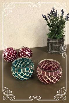 4 vrolijk gekleurde kaarsenhouders