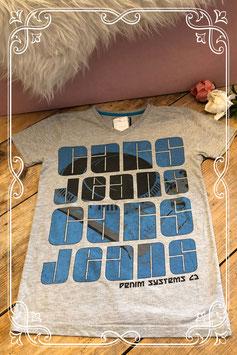 Grijs shirt met blauw/zwarte print van Cars Jeans - Maat 140