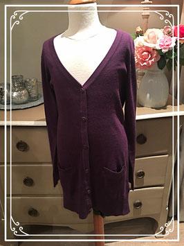 Nieuw: aubergine-kleurig lang vest van H&M - maat 146-152