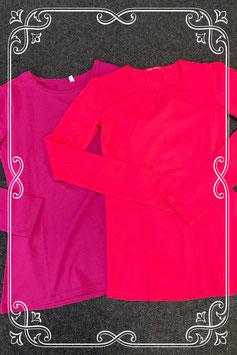 Paarse longsleeve van C&A en roze longsleeve van Hema maat 158/164