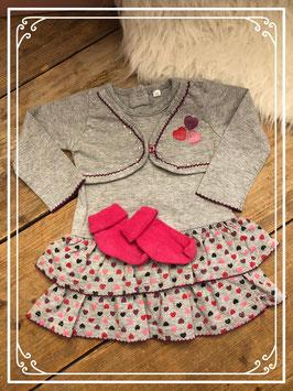 Grijs jurkje met vastzittende vestje en roze sokjes van Zeeman - Maat 68