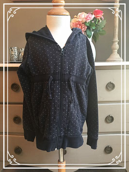 Zwarte sweatervest met grijze stipjes van de H&M - maat 146