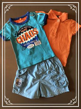 Zomerse set kleding oranje/blauw - Maat 62/68