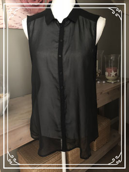 Sjiek doorschijnende zwarte blouse merk H&M - maat L