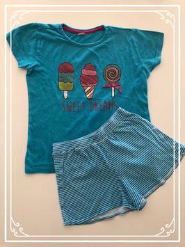 Korte blauwe pyjama met ijsjes - Maat 122-128