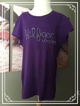 T-shirt hilfiger met kralen en glittertekst - maat 146-152