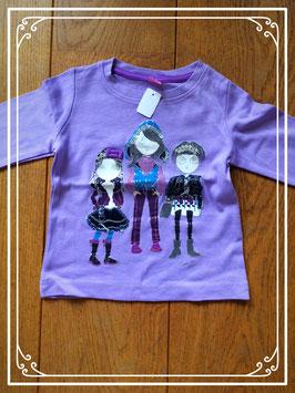 Paars shirtje met opdruk 3 meisjes - maat 98
