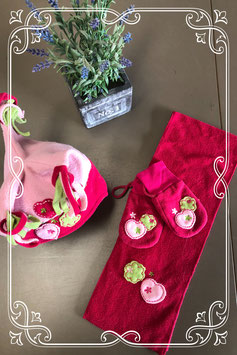 3-delige set in roze met groen