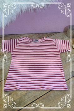 Roze gestreept t-shirt van JM - maat 116