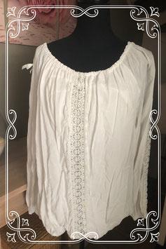 Wit shirt met gehaakte bloemenprint - Maat XL
