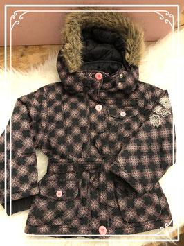 Zwart met roze winterjas van Noppies - Maat 110-116