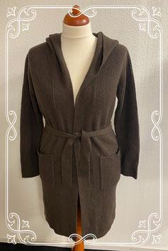 Lang bruin warm vest in maat M/L
