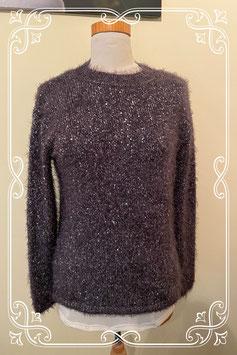 Spetterende zwarte fluffy trui met glinsterende lovertjes Maat S