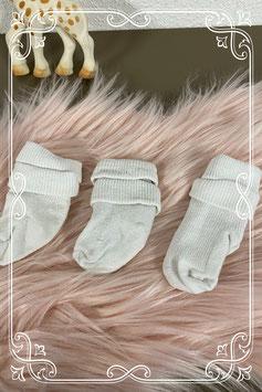 3 paar witte sokjes - 6 tot 12 maanden